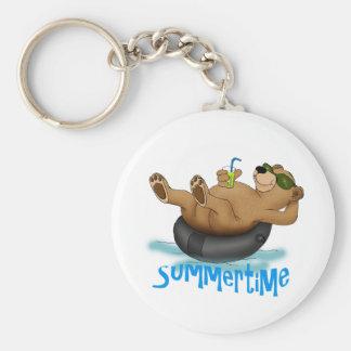 Summertime Bear Basic Round Button Keychain