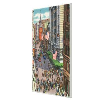 Summertime Crowds on Washington Street Gallery Wrap Canvas