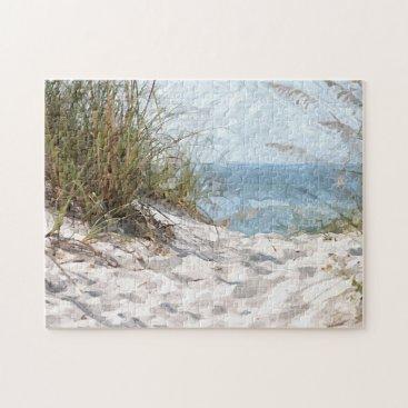 Beach Themed Summertime Dunes Beach Ocean Watercolor Painting Jigsaw Puzzle