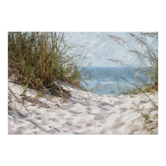 Summertime Dunes Beach Ocean Watercolor Painting Poster