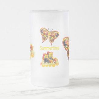 Summertime Frosted Glass Beer Mug