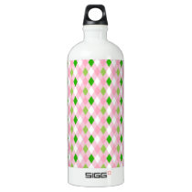 Summertime Fun Pink Lime Green White Argyle Aluminum Water Bottle