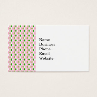 Summertime Fun Pink Lime Green White Argyle Business Card