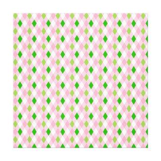 Summertime Fun Pink Lime Green White Argyle Canvas Prints