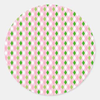 Summertime Fun Pink Lime Green White Argyle Classic Round Sticker