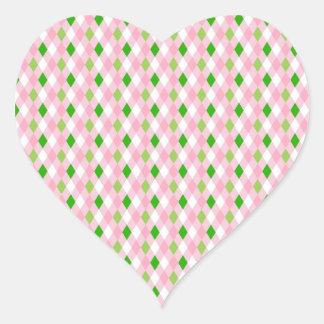 Summertime Fun Pink Lime Green White Argyle Heart Sticker