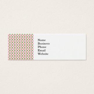 Summertime Fun Pink Lime Green White Argyle Mini Business Card