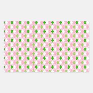 Summertime Fun Pink Lime Green White Argyle Rectangular Sticker