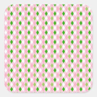 Summertime Fun Pink Lime Green White Argyle Square Sticker