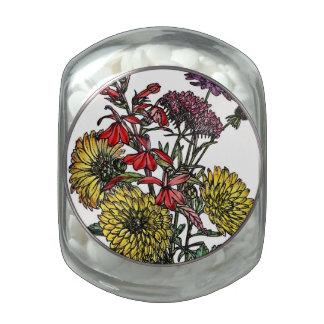 Summertime Garden Bouquet Glass Candy Jar