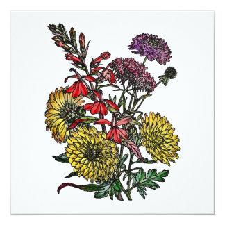 Summertime Garden Bouquet 5.25x5.25 Square Paper Invitation Card
