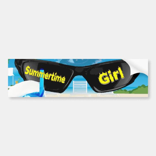 Summertime Girl Bumper Sticker