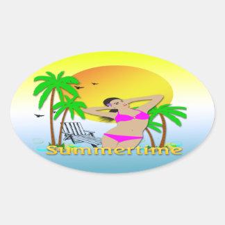 Summertime - Girl Oval Sticker
