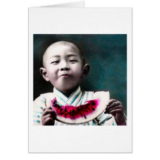 Summertime in Old Japan Vintage Watermelon Card
