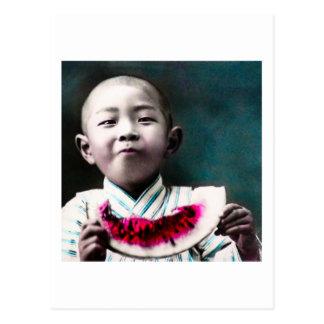 Summertime in Old Japan Vintage Watermelon Postcard