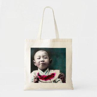 Summertime in Old Japan Vintage Watermelon Tote Bag