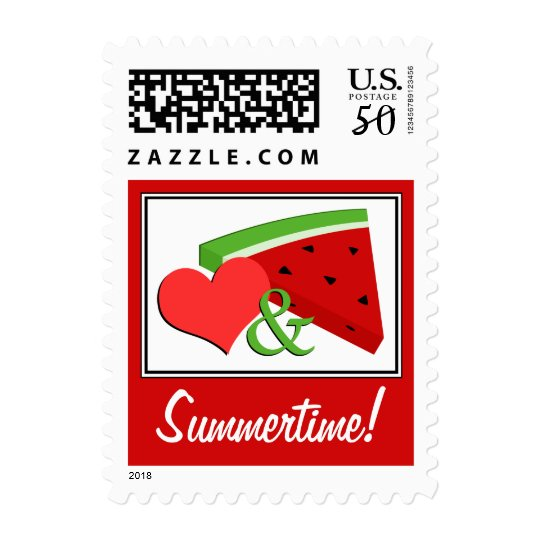 Summertime Love & Watermelon Red Postage Stamps
