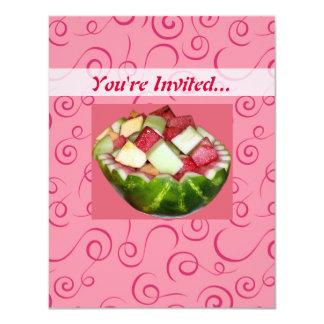 Summertime Picnic Watermelon Fruit Pink Swirls 4.25x5.5 Paper Invitation Card