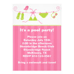 Summertime Pink and Green Bathing Suit Invitation Invitations