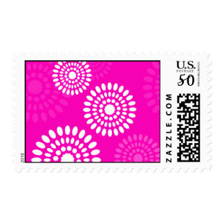 Summertime pink flowers postage
