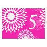 Summertime pink flowers Table Number Card