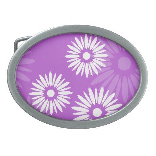 Summertime purple flowers Belt Buckle