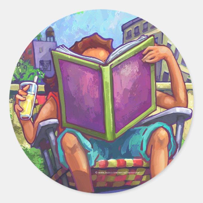 Summertime Reading Art Classic Round Sticker