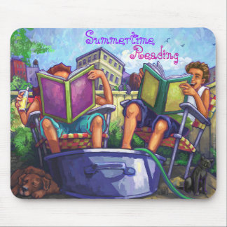 Summertime Reading Art Mouse Pad