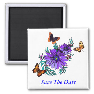 Summertime Save The Date 2 Inch Square Magnet