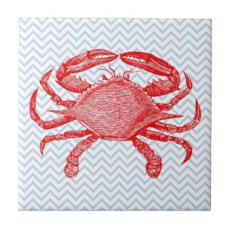 Summertime Seafood Crab Picnic Ceramic Tile