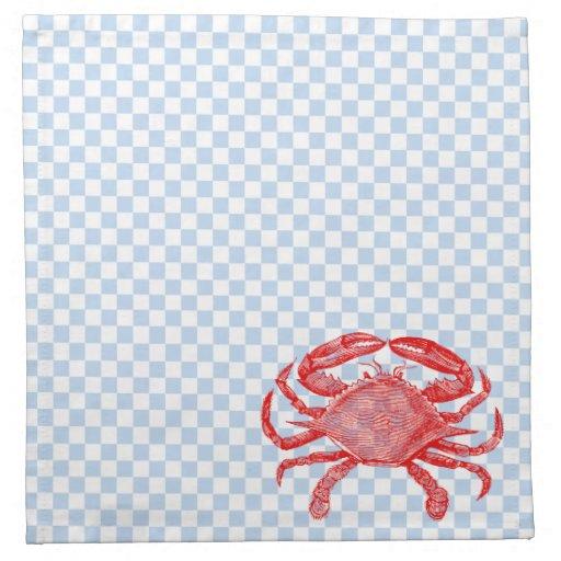 Summertime Seafood Crab Picnic Cloth Napkins