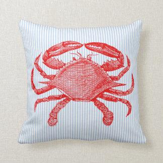 Summertime Seafood Crab Picnic Throw Pillow