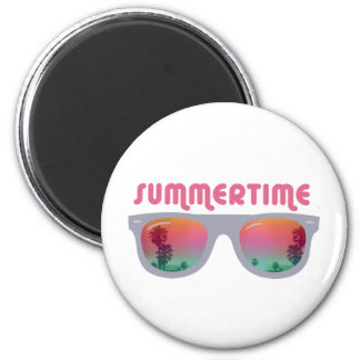 Summertime Sunglasses 2 Inch Round Magnet