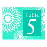 Summertime  turquoise flower Table Number Postcard