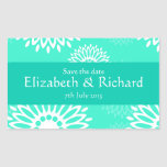 Summertime turquoise flowers Save the date Sticker