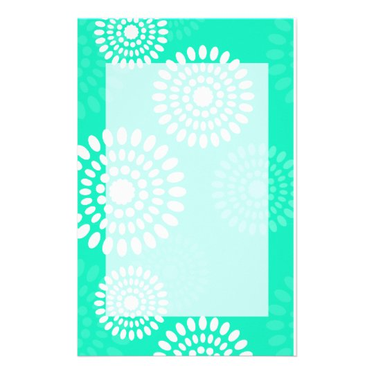Summertime turquoise flowers Stationery
