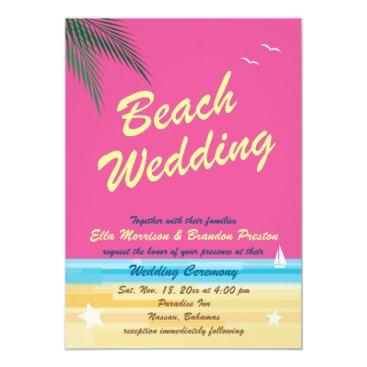 Beach Themed Summertime Wedding Invitation
