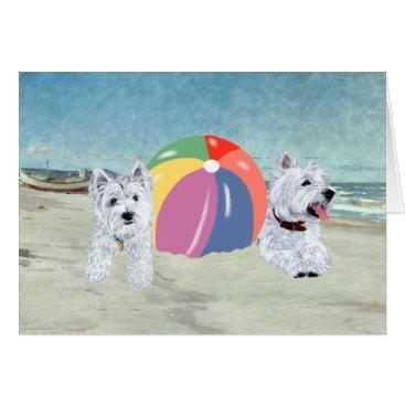 Beach Themed Summertime Westies Blue Water Card