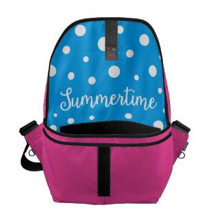 Summertime White Blue Polka Dots Design Courier Bag