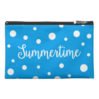 Summertime White Blue Polka Dots Pattern Travel Accessories Bags