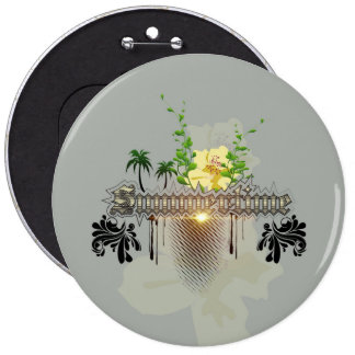 Summertime with flowers and leaves 6 inch round button