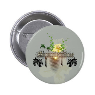Summertime with flowers and leaves 2 inch round button