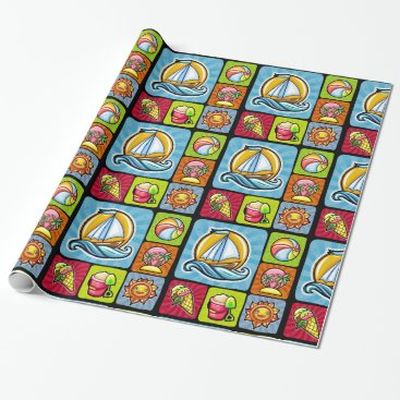 "Beach Themed Summertime Wrapping Paper, 30"" x 6' Wrapping Paper"