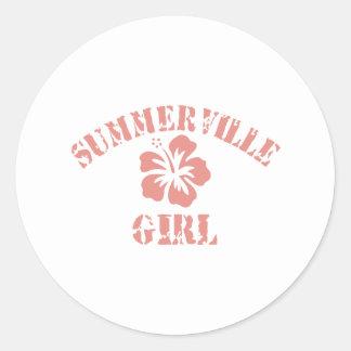 Summerville Pink Girl Classic Round Sticker