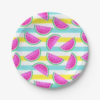 Summery Colorful Striped Watermelons Pattern Paper Plate