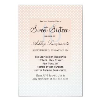 Summery Coral Peach to Grey Gradient Polka Dots Card