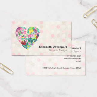 Summery Floral Heart in Pink and Green Business Card