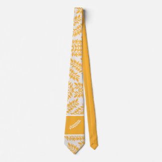 Summery Golden Yellow and White Leafy Pattern Tie