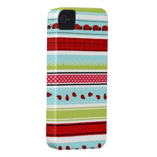 Summery Ladybug Stripes Case-Mate iPhone 4 Cases