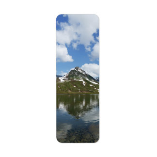 Summery landscape: reflection rocky mount in lake label